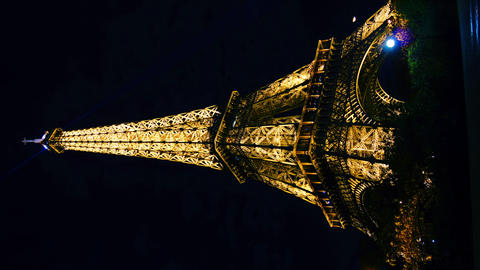 Eiffel Tower in Paris night lights , time lapse ビデオ