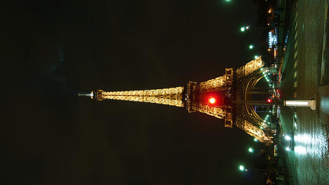 Eiffel Tower in Paris night lights , time lapse Filmmaterial