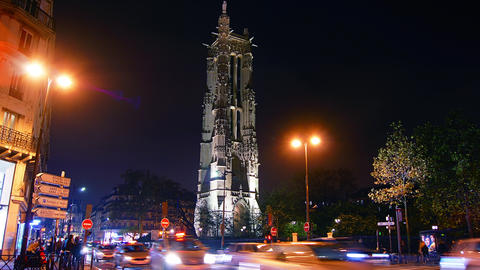 Saint-Jacques Tower With Traffic Cars In Paris, Ti stock footage