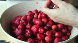 Strawberries. Man Prepares Strawberries. 2 stock footage