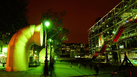 The Centre Pompidou,Time lapse view with traffic Stock Video Footage