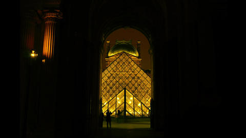The Louvre and the pyramid in night,time lapse vie Footage