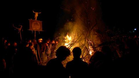 Beltane festival bonfire 03 Footage