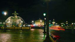 Fontaine de la Concorde at night,time lapse,4k to Footage