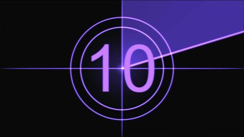 Movie Countdown Animation - Purple Stock Video Footage