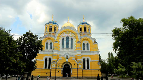 Vladimir Cathedral In Kyiv stock footage