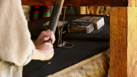 Old Blacksmith Workshop stock footage