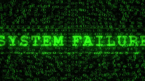 System Failure Text - Digital Data Code Matrix Animation