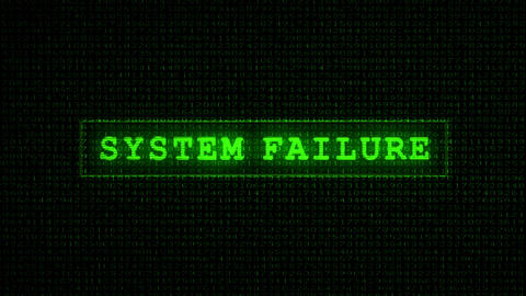 System Failure Text - Digital Data Code Matrix Stock Video Footage