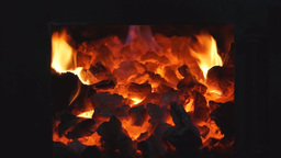 Burning coals in a stove Footage