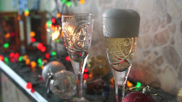 Champagne Into Crystal Glasses stock footage