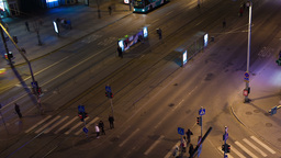 Timelapse of night city traffic in Tallin with ped Footage