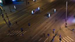 Timelapse Of Night City Traffic In Tallin With Ped stock footage