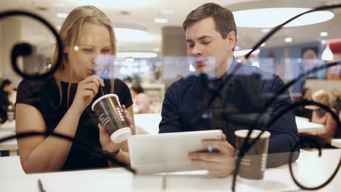 Colleagues in cafe during break drinking coffee an Footage