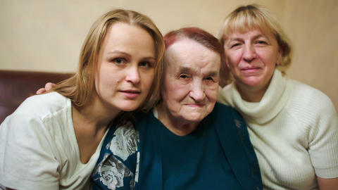 Portrait of three women of different age Stock Video Footage