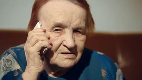 Elderly Woman Talking On The Cell Phone stock footage