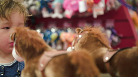 Little boy looking at the toy horses in the shop Footage