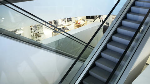 Empty moving staircase in trade center, Live Action