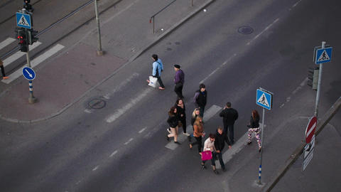 People Crossing The Road On Zebra, Tallin stock footage