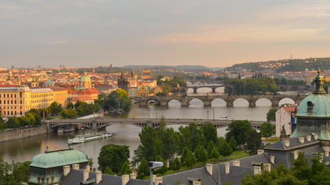 4k UHD roofs and bridges of prague sundown 11380 Footage