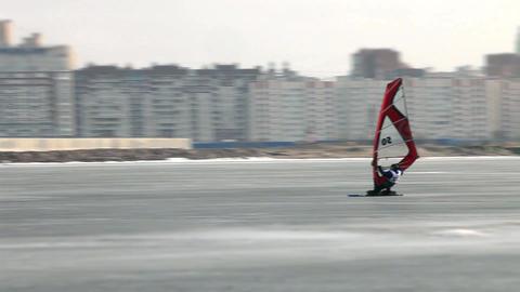 winter windsurfing high speed Stock Video Footage