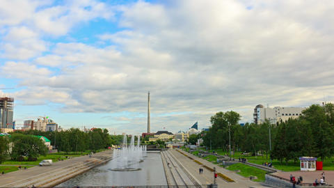 Iset River with a fountain. Time Lapse. 1280x720 Stock Video Footage