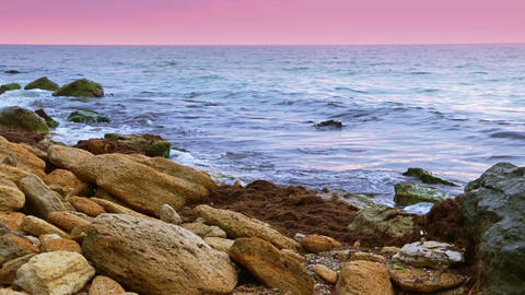 Surf On The Rocky Shore. Slow Motion stock footage