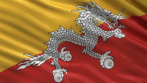 Flag of Bhutan seamless loop Animation