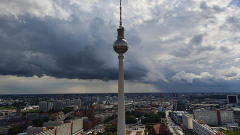 berlin thunderstorm clouds tv tower time lapse 113 Footage
