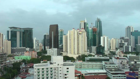 View of the skyscrapers of panama city, in central Stock Video Footage