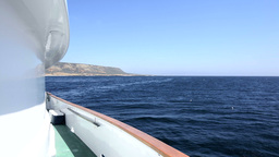 Ocean view over boat rail Stock Video Footage