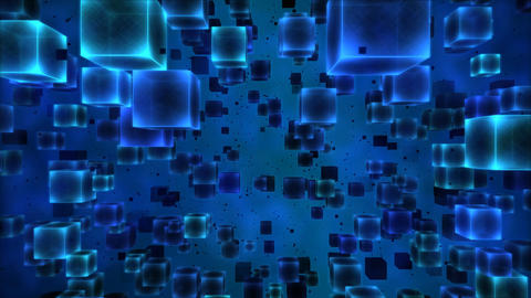 Abstract Cubes Animation - Loop Blue Animation