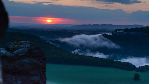 4k UHD Sundown And Fog Saxon Swiss Close 11390 stock footage