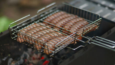 Sausage BBQ stock footage