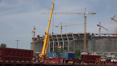The construction of the stadium in St. Petersburg. Footage