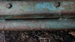 Blue Corroded Piece Industrial Metal 25fps stock footage