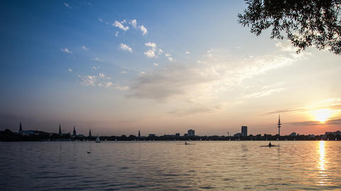 Hamburg Alster lake dolly shot dslr time lapse Stock Video Footage