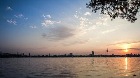 Hamburg Alster Lake Dolly Shot Dslr Time Lapse stock footage