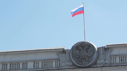State Emblem And State Flag Of The Russia stock footage