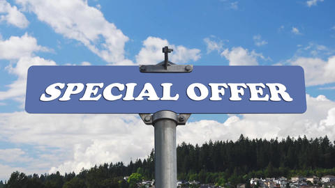 Special offer road sign with flowing clouds Footage