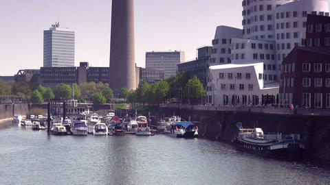 Dusseldorf Harbor is home to some spectacular post Stock Video Footage