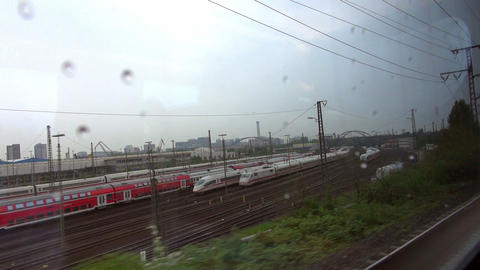 Frankfurt, Overlook High-speed Rail Slowly Pulling stock footage