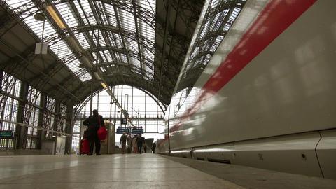 Frankfurt, overlook high-speed rail slowly pulling Footage