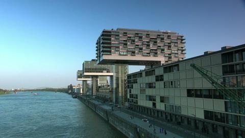 Modern building in Cologne / Koeln - Skyline Footage