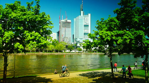 Frankfurt is an important financial center Stock Video Footage