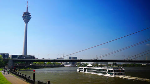Rhine promenade in Dusseldorf, Germany.real time Footage