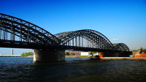 Hohenzollern bridge in Cologne.Germany Footage
