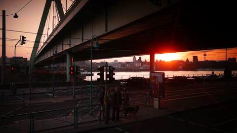 panoramic urban Scenes of Cologne, Koln, Germany Footage