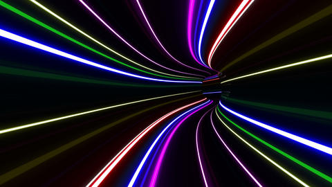 Tunnel Neon Tube DL 2 4k Stock Video Footage