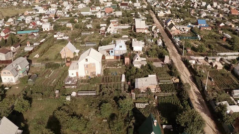 Flying over the village. Aerial Shot Footage